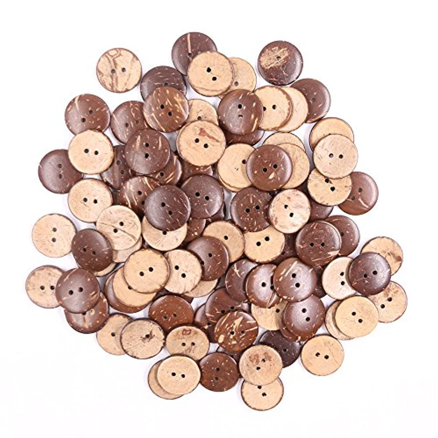 Renashed 100pcs Brown New Thick Coconut Shell Buttons 2 Hole Craft Sewing Buttons hot Products (2cm/0.78inch)