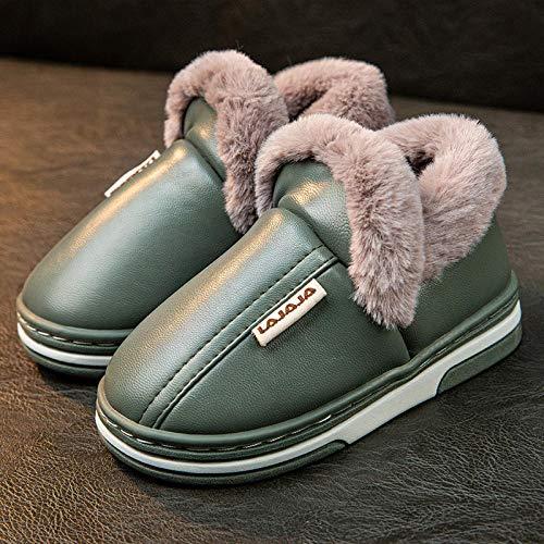Nwarmsouth Invierno Memory Foam Casa Zapatos,Zapatillas de Felpa de Invierno, Zapatos Gruesos de algodón cálido-Army Green_20-21cm,Zapatillas de Hombre Durables y cómodas