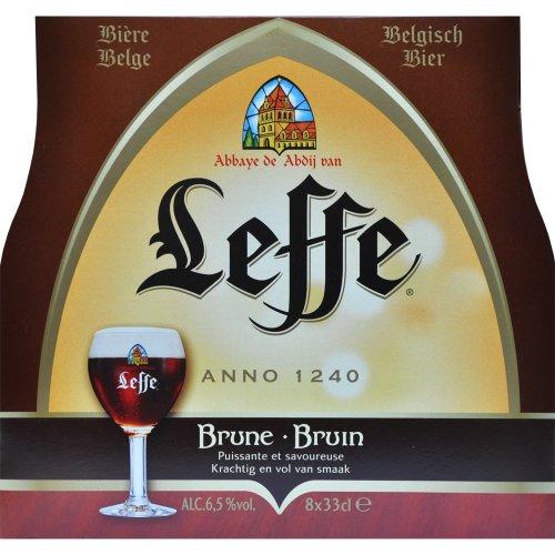 Original Belgisches Bier - Leffe Braun obergäriges Klosterbier aus Belgien, 8 Flaschen 330 ml. inc. 0.64€ MEHRWEG Pfand