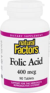 Natural Factors - Folic Acid 400mcg, Support for The Nervous & Reproductive Systems, 90 Tablets
