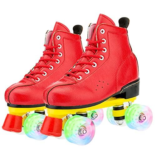 ZCPDP Patines para mujer, cuatro ruedas brillantes para exteriores, interiores, piel sintética, unisex, con bolsa de zapatos