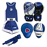 Prime Sports Shop - Juego de 4 piezas de boxeo para niños, uniforme, gimnasio, ejercicio, parte superior corta de 3 a 14 años + almohadilla de enfoque 1103, guantes de boxeo para niños, talla 1004, 6 onzas + muñequera, color: azul, 1103 Blue, 5-6 años