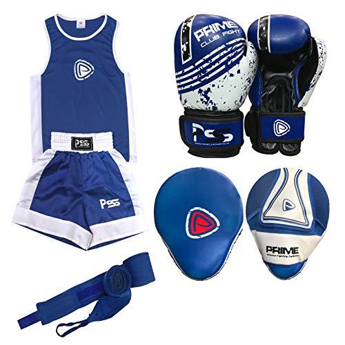 Prime Sports Shop - Juego de 4 piezas de boxeo para niños, uniforme, gimnasio, ejercicio, parte superior corta de 3 a 14 años + almohadilla de enfoque 1103, guantes de boxeo para niños, talla 1004, 6 onzas + muñequera, color: azul, 1103 Blue, 11-12 Años