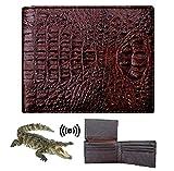 HATA Men Alligator Crocodile Bifold Wallet Handmade Hornback Leather RFID Blocking VINAM-42
