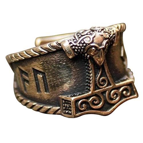 CNZXCO Brazalete Vikingo, Pulsera Vikinga Hombre, Amuletos De La Suerte Y Proteccion, Anillo De Acero Inoxidable De Vikingo Para Hombre, Dulce Buena Suerte Runa Mjolnir Thor Hammer Nordic Nings, Regal