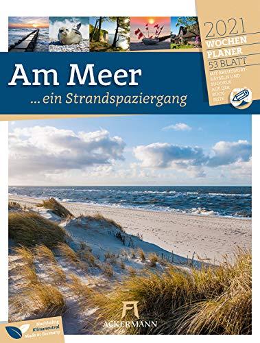 Am Meer, ein Strandspaziergang - Wochenplaner Kalender 2021, Wandkalender im Hochformat (25x33 cm) - Wochenkalender mit Rätseln und Sudokus