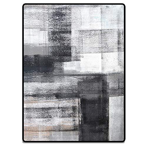 Way bocke Alfombra Moderna Y Elegante con Tinta China Abstracta, Alfombra Gris Negra, Alfombra para Exteriores/Interiores para Sala De Estar, Comedor, Dormitorio,60 * 90cm