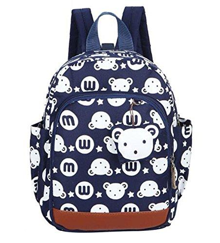 DNFC Kindergartenrucksack Kinderrucksack Jungen Mädchen Kindergartentasche Babyrucksack Schöne Kindertasche Kindergarten Schulrucksack Kleinkinder Rucksack Kinder Schultasche Backpack (Dunkelblau)