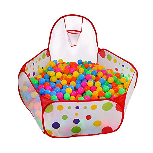 MIMORE Kids Playpen Play Tent Ball Pit Pool with Mini Basketball Hoop Packed into Red Zippered Storage Bag for Toddlers, Pets 3.93Ft (Balls not Included)