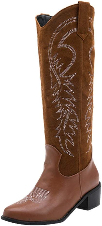 FMTZZY High Heels Sale price for Women Embroidery Women's Fort Worth Mall B Western Cowgirl