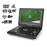 Lecteur DVD Portable 9,8'', écran LCD LCD Pivotant Lecteur DVD Mini-Jeu Lecteur TV Radio FM pour Voiture Enfants avec Prise Charge Entrée/Sortie AV SD/USB Compatible avec AVI EVD DVD VCD CD etc(UE)
