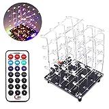 PEMENOL LED Lichtwürfel DIY Kit 3D4 RGB Bunt Elektronik Bausatz mit Musikwiedergabe Funktion und...