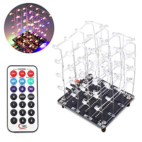 PEMENOL LED Lichtwürfel DIY Kit 3D4 RGB Bunt Elektronik Bausatz mit Musikwiedergabe Funktion und Fernbedienung Kreative elektronische DIY Kit Mould