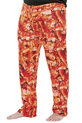 ComputerGear Mens Pajama Lounge Pants with Side Pockets PJ Bottoms Bacon Print Unisex L