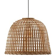 Amazon Brand – Stone & Beam Modern Round Rattan Ceiling Pendant Chandelier with Light Bulb - 15.75 x 16.75 12.6 Inches, 85.6 Inch Cord, Natural