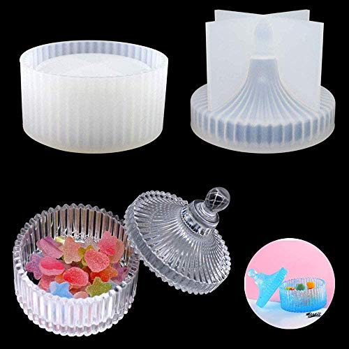 Silicone Epoxy Resin Casting Molds Round Trinket Box Moulds Jewellery Storage Box Mold with Lid for Wedding Baby Shower Birthday Christmas Handmade Craft DIY