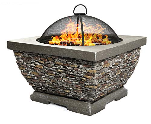 Homeology TONTERIA Prestigious Garden & Patio Heater Fire Pit Brazier and Barbecue with Eco-Stone Finish