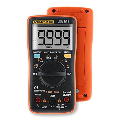 4EVERHOPE AN8009 Alcance automático Mano Digital Multímetro Prueba de voltaje AC/DC, corriente continua, resistencia, continuidad, diodos, transistor para auto, ingeniería eléctrica naranja