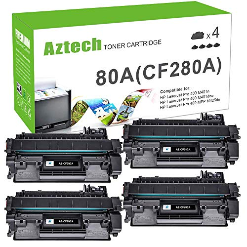 Aztech Compatible Toner Cartridge Replacement for HP 80A CF280A 80X CF280X Laserjet Pro 400 M401A M401D M401N M401DNE MFP M425DN (Black, 4-Pack)