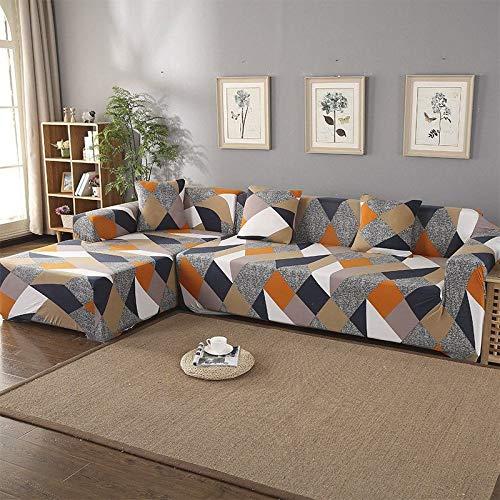 Juego de Fundas de sofá Funda de sofá geométrica Funda de sofá elástica para Sala de Estar Esquina de Mascotas en Forma de L Chaise Longue Funda de sofá A15 4 plazas