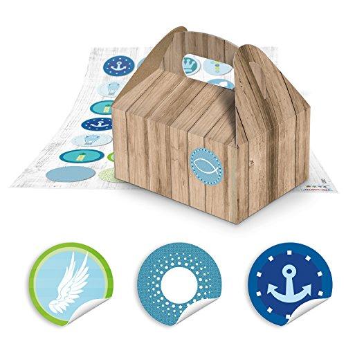 70 kleine bruine geschenkdozen verpakking in hout-look 9 x 12 x 6 cm zonder handvat + 70 maritieme blauw turquoise stickers voor communie doop enz. Vissen, schepen, kruis 12053, sogebsel