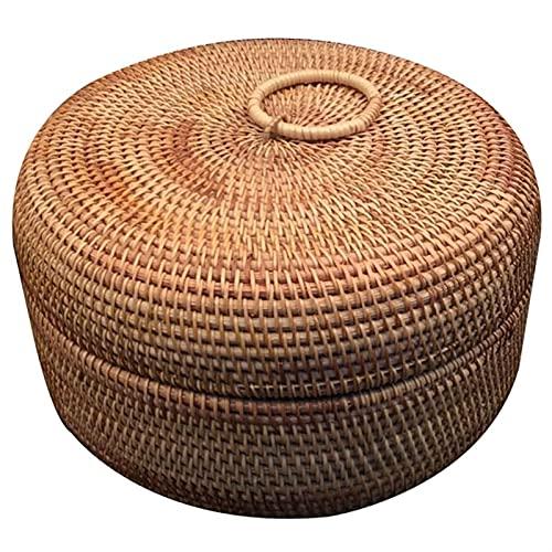 Autumn Rattan Weave Fruit Cesta Organizadores Redondos Caja de Pan seco Bocadillos de Caramelo Postre Contenedor de Almacenamiento de Alimentos con Tapa Canasta Pan