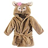 Hudson Baby Unisex Baby Plush Animal Face Robe, Fawn, One Size, 0-9 Months