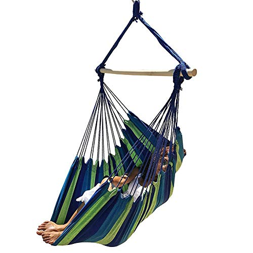 hillrong Hanging Hammock Chair Super Large Hanging Chair Soft-Spun Cotton Rope Weaving Chair, Spreader Bar Wide Seat Swing Chair Indoor Outdoor Garden Yard Decoration-Without sticks and rope