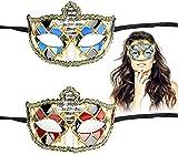 Maxjaa máscara de la Mascarada Set 2pcs la máscara del Carnaval Kit de Halloween máscara Veneciana de la Media Cara de la Vendimia máscara del Carnaval máscaras del Partido Griego Romano Hombres