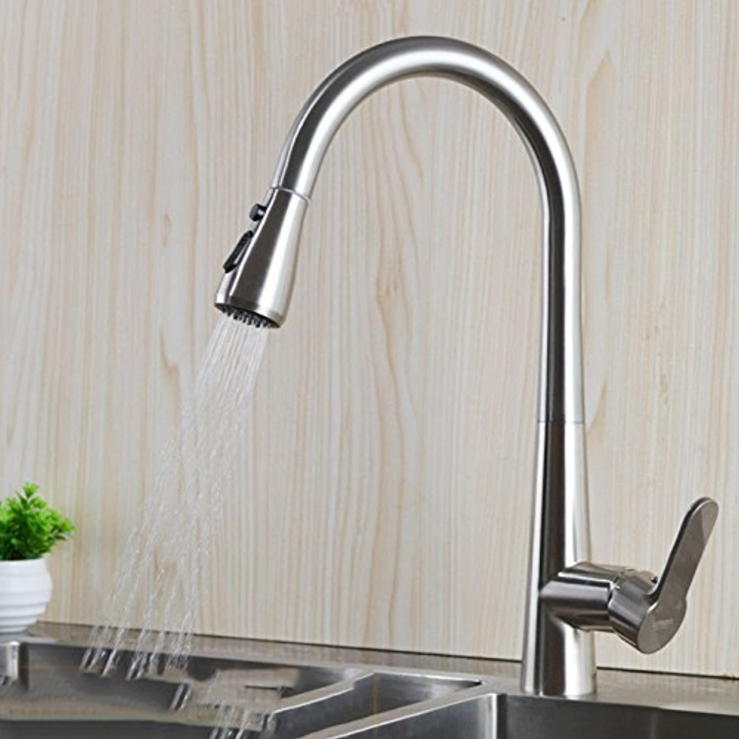 Commercial Single Lever Pull Down Kitchen Sink Faucet Brass Constructed Polished Full Copper Pull Kitchen Faucet hot and Cold Shower Head redating Lead-Free Sink Faucet, A