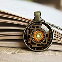 マンダラのスリヤントラネックレス、スリヤントラペンダント、ヒンドゥー教の神聖な幾何学の宝石