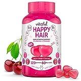 VITAFUL Happy Hair - Ayuda a un Rápido Crecimiento de Cabello y Promueve un Cabello, Uñas y Piel - 10 Vitaminas, 2 Minerales y Biotina Extra - 120 Gomitas Suplemento para 2 Meses - 100% Vegano