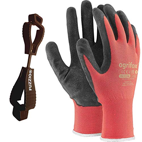 24 pares de guantes de trabajo recubiertos y porta clip para guantes FUZZIO® (M - 8, Rojo)