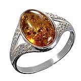 """Anello in argento Sterling con ambra baltica, color miele, modello """"Salma"""" e Argento, 53 (16.9)"""