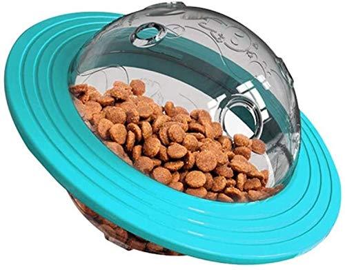 BHSHOP Tratar Perro Bola UFO Triturador Puzzle Lenta alimentador de Bolas Interactivo Perro Disco Juguete Interactivo Perro Tratar Juguetes (Color : Blue)