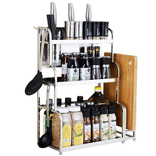 Aufbewahrungseinheit Edelstahl-Aufbewahrungsregal, dreistufiges Multifunktionsregal für die Küchenarbeitsplatte, Multi-Style Multi-Size Optional (Farbe: Silber, Größe: B-Länge 35 cm)