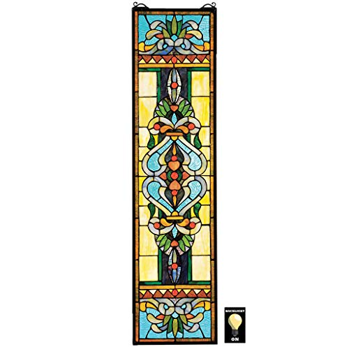 Design Toscano HD463 Blackstone Hall Stained Glass Window Hanging Panel, 35 Inch, Stained Glass, Full Color