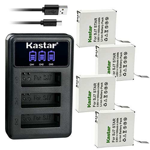 Kastar 4 Pack Battery and LCD Triple USB Charger Compatible with SJCAM SJ7 Star SJCAM SJ7B Battery and Charger, SJCAM SJ7 Star Sport Camera, SJCAM SJ7 Star 4K Ultra HD Action Camera