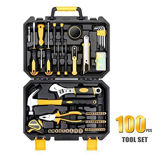 Autowerkzeuge Universal-Haushaltswerkzeugsatz Mit Kunststoffwerkzeugkasten Aufbewahrungsbox Steckschlüssel Schraubendreher, Handwerkzeugsatz, Tz100
