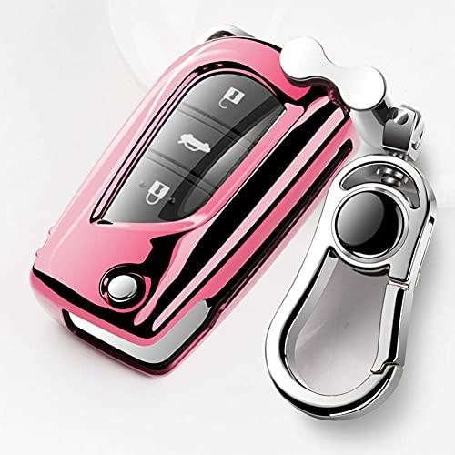 BENBENXIONG Carcasa Completa para Llave de Coche, para Toyota Corolla Auris Reiz Avensis Rav4 Hilux Yaris Aygo Scion Revo Fortuner TC ImPink