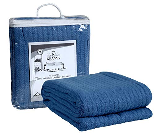 Kranvy Home 100% Soft Premium Cotton Thermal Blanket/Throw Lightweight and Breathable Loom Weave - Perfect for Layering Any Bed for All-Season - Royal Blue - Twin Size (66 X 90 Inch)