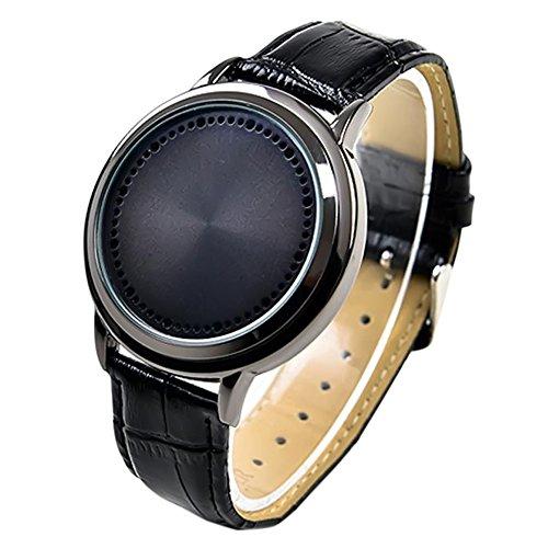 Vococal - Estilo Simple Reloj de Pantalla Táctil LED Resistente al Agua con Correa Pulsera de Cuero PU para Hombre Mujer Unisex,Negro