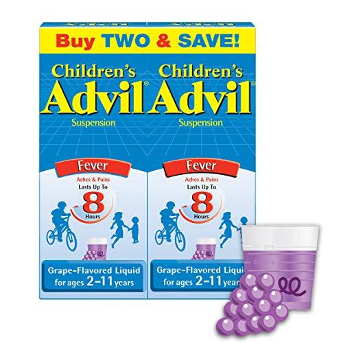 Advil Children's Fever Reducer/Pain Reliever, 100mg Ibuprofen (Grape Flavor Oral Suspension, 4 fl. oz. Bottle, Pack of 2)