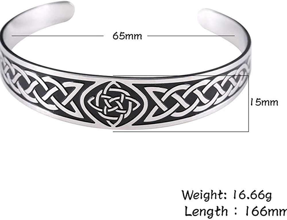 Jude Jewelers Retro Vintage Stainless Steel Celtic Knot Open Cuff Statement Cocktail Party Chunky Bangle Bracelet