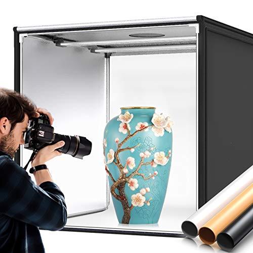 SAMTIAN Light Tent,32'/80cm LED Photo Light Box,Photography Studio, Large Photo Studio Shooting Tent with 3 Background Paper (Black,White and Orange) and 2 LED Stripe Light