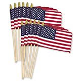 Online Stores 12-Pack US Stick Flag Standard, Wood Stick with Spear Tip, 8 by 12-Inch