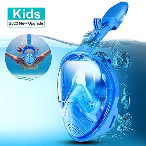 Máscara de snorkel de cara completa 180 ° Seaview Máscaras de snorkel de respiración fácil para niños Buceo de seguridad anti-niebla y anti-fugas con montaje de cámara de acción desmontable (azul)