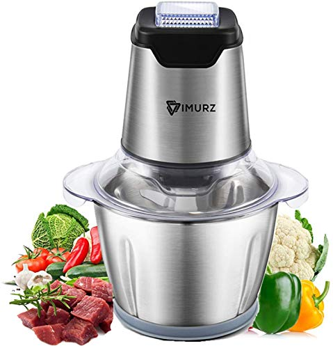 IMURZ Picadora electrica de Alimentos de 600w,picadora de Cocina con 4 Cuchillas afiladas y tazón de Acero Inoxidable de 1.2L,Picadora de Carne para Verduras,Carne,Especias