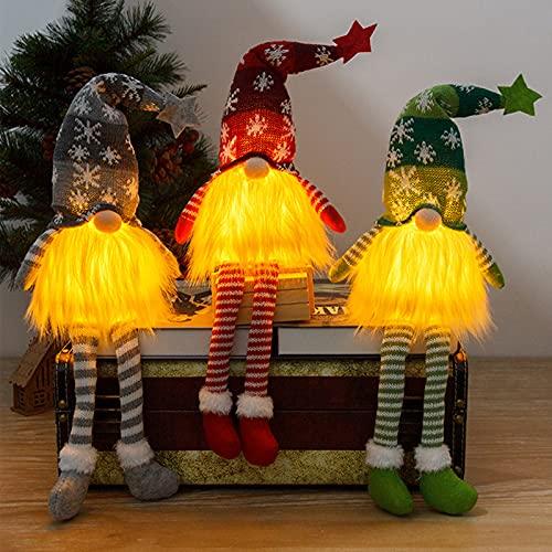 Gnomos Navidad, Elfo Navidad Muñeco Luces, Navidad Decoración Casa Interior, Gnomos Y Duendes Adornos Navidad Luz Miniatur Grinch Nordicos Vintage Ventana Terraza Chimeneas Decorativa (Piernas Larga)