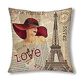 QUEMIN Vintage Paris Decor Eiffel Tower Sexy Pin Up Girl in Newspaper Cushion Case Protector Pillowc...